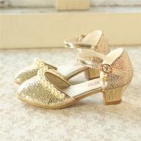 珍珠高跟鞋公主鞋 韩版儿童舞蹈鞋春秋季女童皮鞋 小童单鞋子