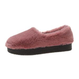 WARORWAR新品YM91-F1029-1冬季韩版平底厚底舒适女士乐福鞋毛毛鞋