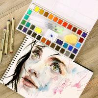 马利牌固体水彩颜料初学者手绘36色48色24色套装透明水彩画颜料分装便携水粉颜料固体画笔本套装组合