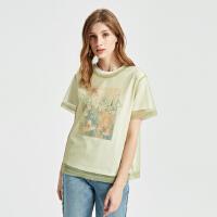 【1件2.5折到手价:74.8】纯棉MECITY女装假两件纱网印花短袖T恤
