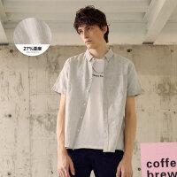 【1件3折到手价:49.8】美特斯邦威短袖衬衫男夏装新款基本棉麻简约百搭衬衣商场款