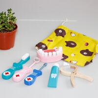 儿童牙医套装保护牙齿玩具木制过家家牙科工具牙膏牙刷 小小牙医六件套
