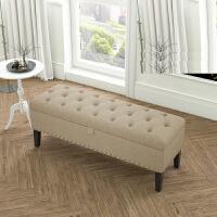 换鞋凳欧式床尾凳实木储藏储物箱凳床头边脚凳美式试服装店沙发凳