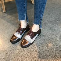 2018春季新款布洛克英伦风女鞋平底单鞋韩版鞋子女复古学院小皮鞋