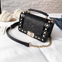 包包女2018潮韩版亮片斜挎包小包时尚链条珍珠单肩手提包