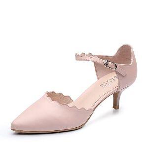 BASTO/百思图2018春季专柜同款牛皮简约甜美尖头细跟女皮鞋TSF11AK8