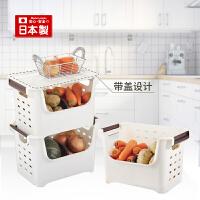 霜山日本进口厨房收纳筐塑料整理箱带盖长方形水果蔬菜收纳盒