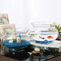 金鱼缸圆形客厅玻璃家用的小型透明大号欧式超白加厚花边创意桌面