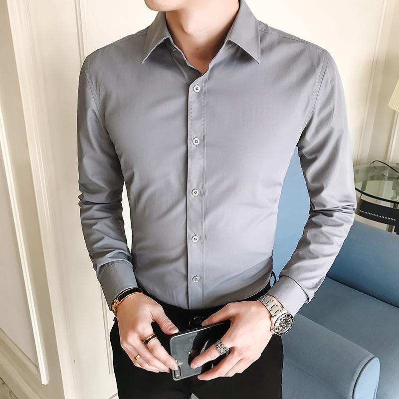 男装新款韩版商务纯色衬衣男士时尚休闲修身长袖衬衫