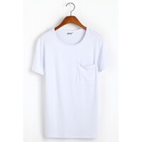 短袖T恤男装莫代尔圆领修身T恤夏季纯色棉上衣服男士打底衫半袖潮 漂白色 有口袋