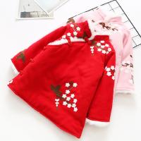 女童冬裙子棉衣冬装中国风刺绣花朵新年装复古夹棉加厚旗袍连衣裙