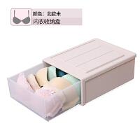 家用透明衣柜衣物内裤袜子文胸整理盒多格抽屉式内衣收纳盒塑料