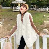 2020年冬季新款编织羊羔毛皮草马甲女中长款皮毛一体毛毛外套背心