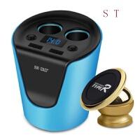 点烟器一拖二 车载充电器车充 双USB汽车充电器 电压检测 独立开关 T01蓝 T01电压版 磁性手机支架 福特新款福克
