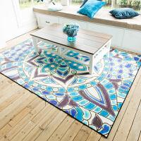 欧式简约地中海蓝色沙发茶几地毯 客厅卧室薄款榻榻米家用地垫子 天蓝色 爱琴海歌谣