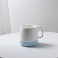 情侣牙刷杯套装刷牙杯子创意牙缸牙杯欧式一对陶瓷家用漱口杯 蓝边 单杯