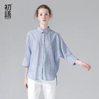 【夏装清仓价】语夏季新款衬衫女蓝色竖条纹前短后长纯棉宽松衬衣中袖#