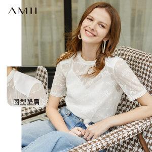【到手价:77.9元】Amii极简洋气性感小心机T恤女2019夏季新款圆领透视短袖蕾丝上衣