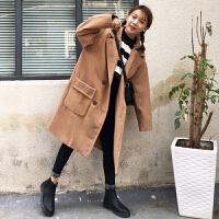 秋冬女装学生中长款chic韩版口袋毛呢大衣学生潮呢子外套长袖上衣