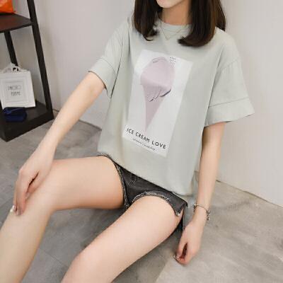 2018春装新款个性印花短袖T恤女韩版时尚荷叶袖宽松学生打底上衣