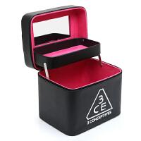 化妆包大容量大号便携韩国简约多功能双层手提化妆箱洗漱品收纳盒 黑色