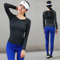 新款瑜珈跳操舞蹈上衣女夜跑步运动服女 韩版身房服长袖瑜伽服T恤