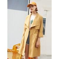 【2件3折价:119.7元】初语春装新款风衣女中长款韩版休闲西装领小个子大衣薄外套#