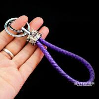 镶钻编织绳汽车钥匙扣女 毛绒创意可爱水钻钥匙挂件韩国包包挂饰