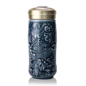 乾唐轩活瓷杯大吉祥麒麟随身杯双层保温 陶瓷便携带泡茶办公杯