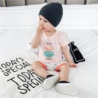 新生儿衣服满月婴儿夏装短袖纯棉上衣打底衫肩开口宝宝夏季T