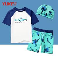 儿童泳衣男童分体游泳衣宝宝平角速干防晒小童婴儿泳装泳帽套装 白色鲨鱼