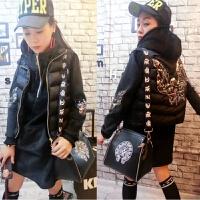 冬季时尚套装女韩版显瘦中长款金丝加绒卫衣加厚羽绒棉马甲两件套 黑色 X