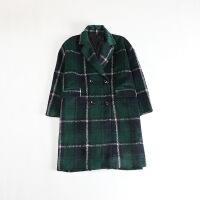 秋冬女中长款毛呢外套 格子英伦风宽松显瘦西装领大衣42X