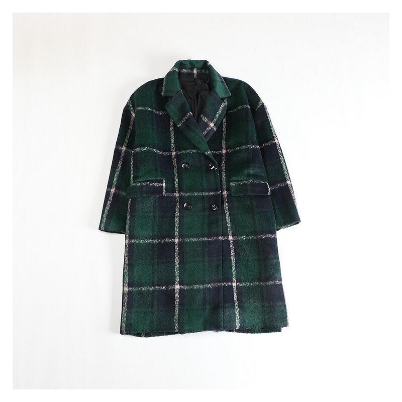 秋冬女中长款毛呢外套 格子英伦风宽松显瘦西装领大衣42X 发货周期:一般在付款后2-90天左右发货,具体发货时间请以与客服商的时间为准