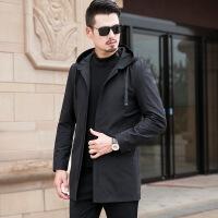 秋季男士风衣加肥加大码中长款连帽外套胖子宽松薄款夹克中年肥佬