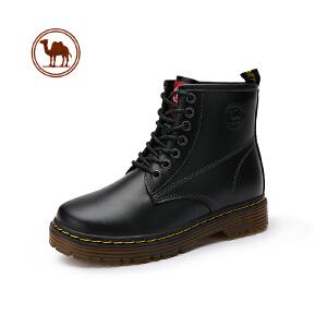 骆驼牌情侣款靴 新款中帮马丁靴男英伦高帮工装皮靴