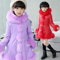 花样童依 女童棉衣中长款2018冬装新款儿童保暖外套中大童韩版pu皮棉袄