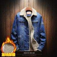№【2019新款】冬天胖人穿的加绒牛仔外套男加厚毛领宽松爸爸外穿上衣大码夹克翻领
