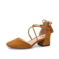 camel 骆驼女鞋 2018春季新款 通勤浅口粗跟单鞋女系带流苏圆头中跟鞋