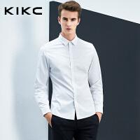 kikc男士衬衫男新款韩版纯棉商务休闲衬衫白色潮流修身长袖衬衣男