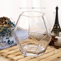 玻璃花瓶摆件客厅插花透明创意个性北欧几何宽口现代简约玫瑰鲜花