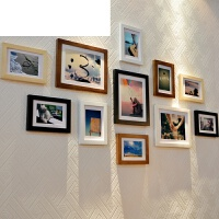 11框实木照片相片墙5 6 7 8 10 12 A4 16寸相框画框创意挂墙组合 5寸8个 7寸3个不含卡纸画芯