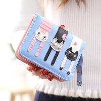 钱包女短款女士钱包日韩版可爱卡通猫咪三只拉链学生潮钱夹零钱包
