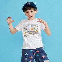 【2件2.5折到手价:17.25】moomoo童装男童上装夏季新款纯棉海洋休闲儿童装男童短袖t恤