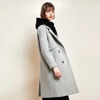【清仓239元】赫本风毛呢大衣女中长款过膝冬装2019新款宽松呢子外套