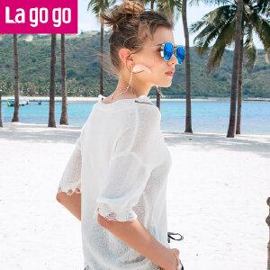 Lagogo/拉谷谷2018夏季新款破洞小清新女装 上衣针织衫HAMM234A32