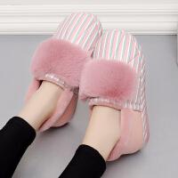 2018新款棉拖鞋女冬季女士PU皮面防水室内保暖厚底包跟居家鞋冬天