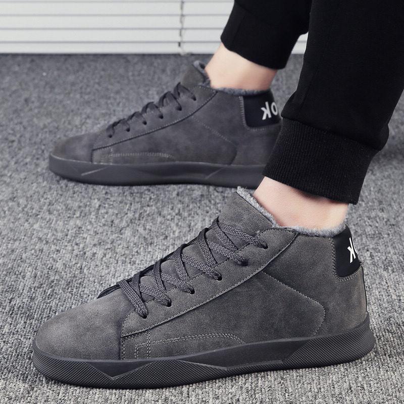 冬季雪地靴男士韩版中帮加绒保暖棉鞋棉靴男靴子潮流高帮板鞋男鞋