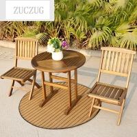 ZUCZUG露天庭院户外家具实木桌椅阳台桌椅田园休闲家具柚木折叠椅三件套
