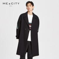 【2件3折到手价:403.5】MECITY男装2019春季新款韩版潮流黑色罗纹拼接系带大衣外套